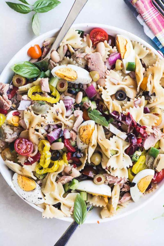 Mediterranean Pasta Salad with Tuna from The View from Great Island on foodiecrush.com