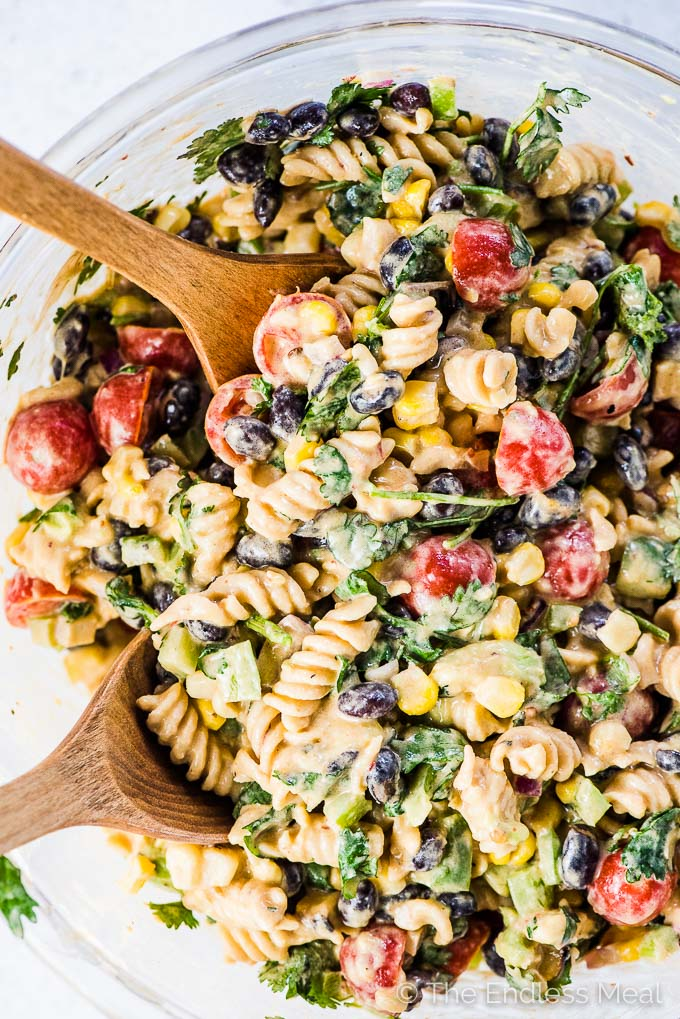 Mexican Pasta Salad with Creamy Chipotle Lime Dressing from The Endless Meal on foodiecrush.com