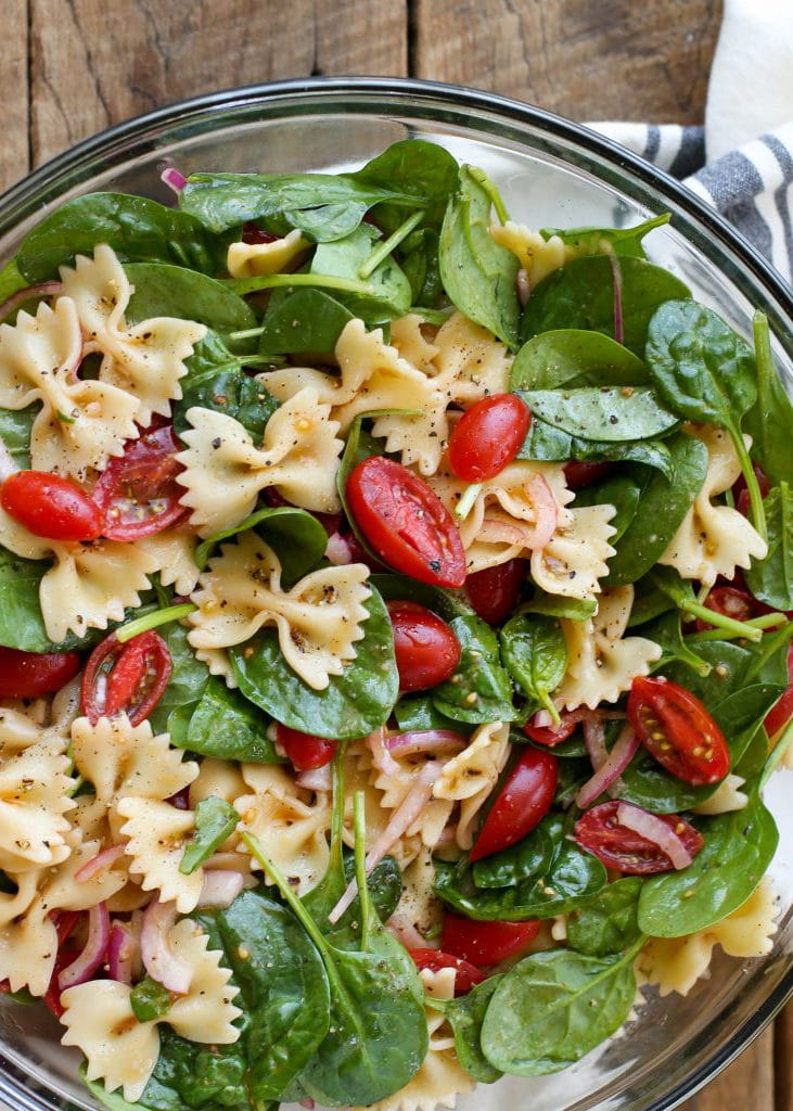 Spinach Pasta Salad from Barefeet In the Kitchen on foodiecrush.com