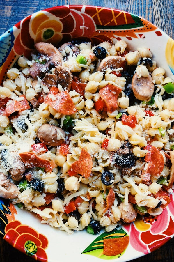 Pizza Pasta Saladfrom Recipe Girl on foodiecrush.com