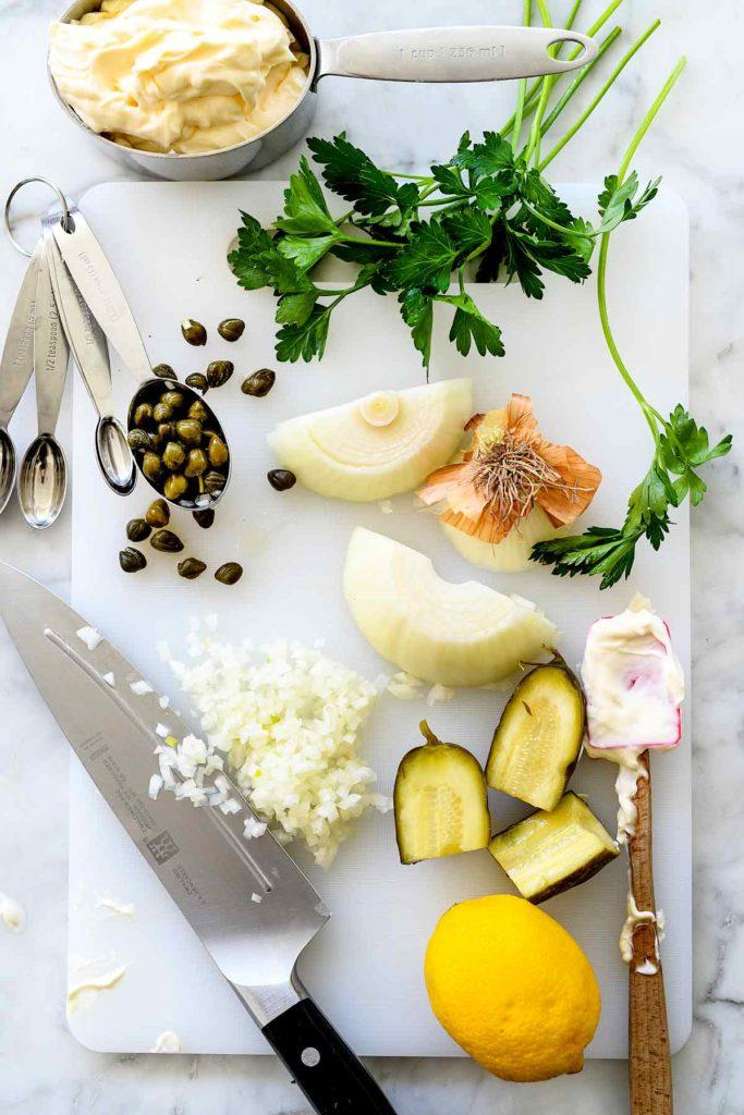 How to Make Homemade Tartar Sauce | foodiecrush.com #fish #sauce #tartarsauce #condiment #sauce