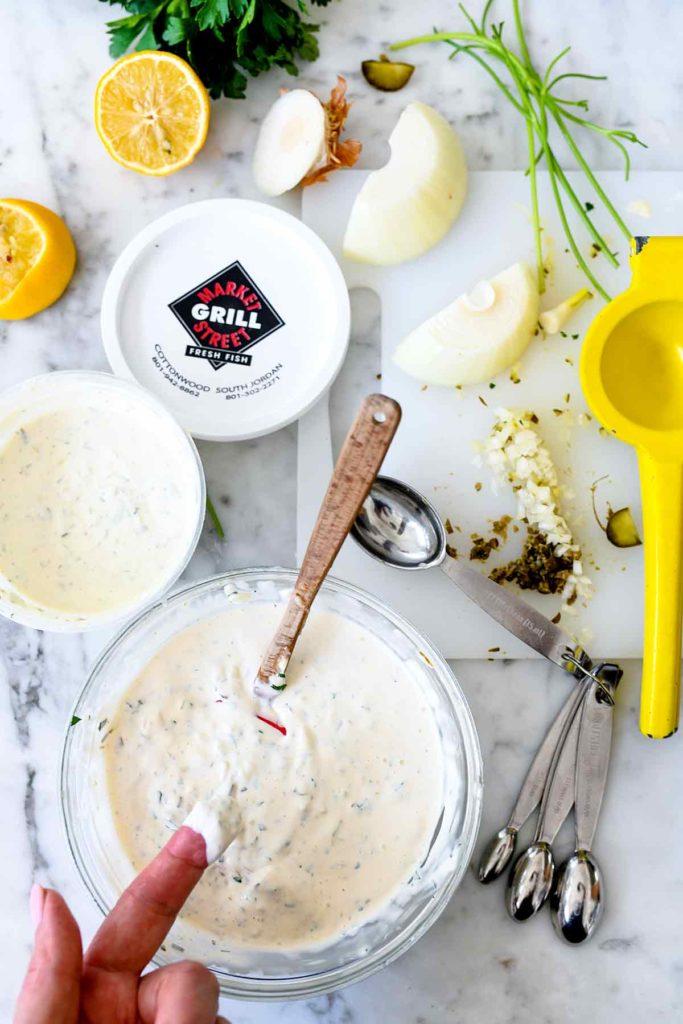 How to Make Tartar Sauce | foodiecrush.com #fish #sauce #tartarsauce #condiment #sauce