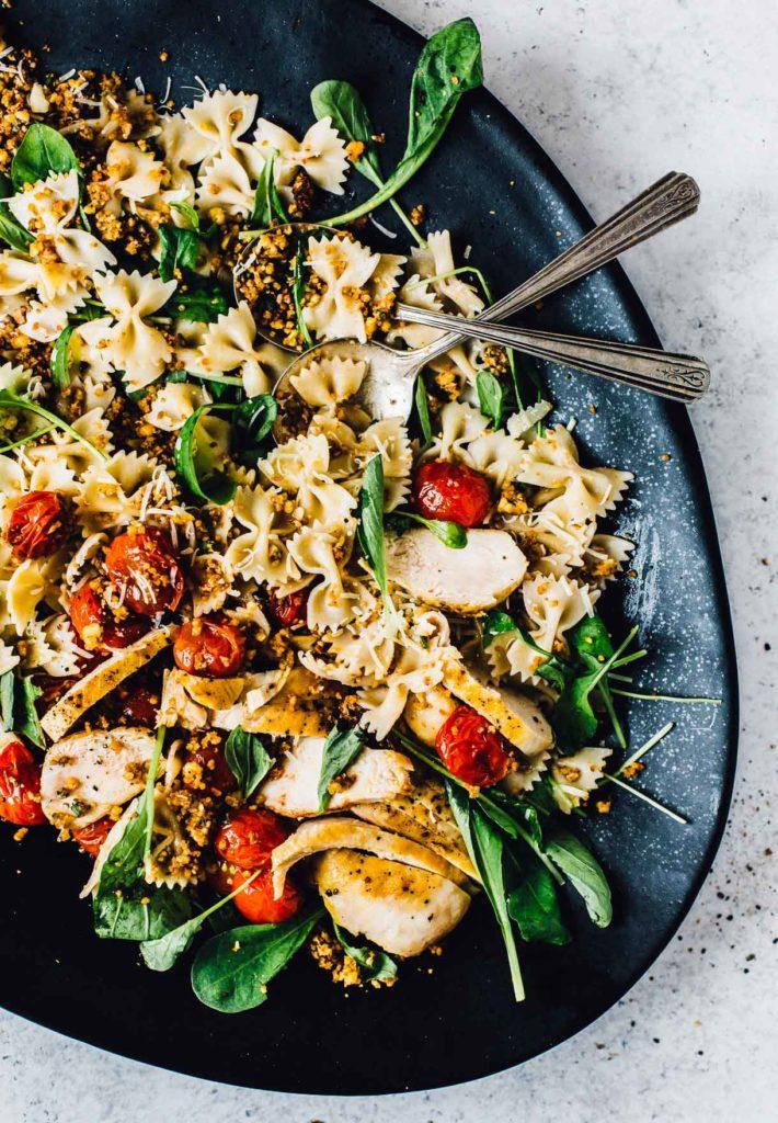 Bruschetta Chicken Pasta Salad from Heartbeet Kitchen on foodiecrush.com