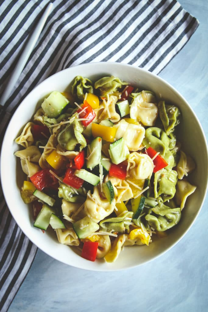 5-Ingredient Tortellini Salad from Sweet Phi on foodiecrush.com