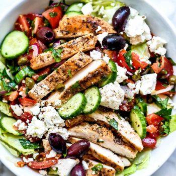 Greek Salad with Chicken | foodiecrush.com