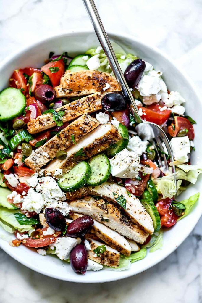 Greek Salad with Chicken | foodiecrush.com