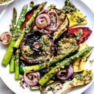 Grilled Vegetables with Chimichurri Sauce | foodiecrush.com #vegetables #grilled #chimichurri #herbs