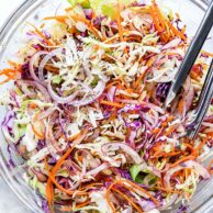 Tangy Vinegar Coleslaw (No Mayo) foodiecrush.com #coleslaw #vinegar #recipes #easy #healthy