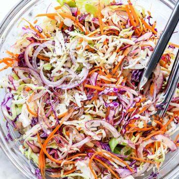 Tangy Vinegar Coleslaw (No Mayo) foodiecrush.com #coleslaw #vinegar #recipes #easy #healthy