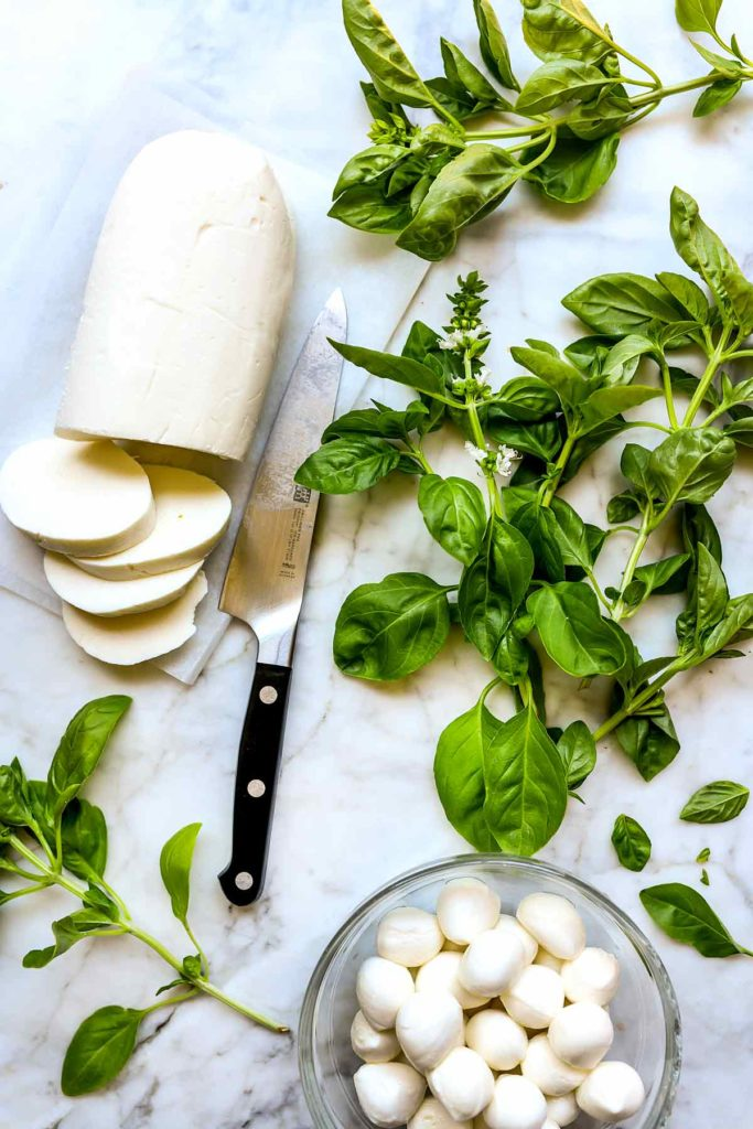 Mozzarella and Fresh Basil Leaves foodiecrush.com