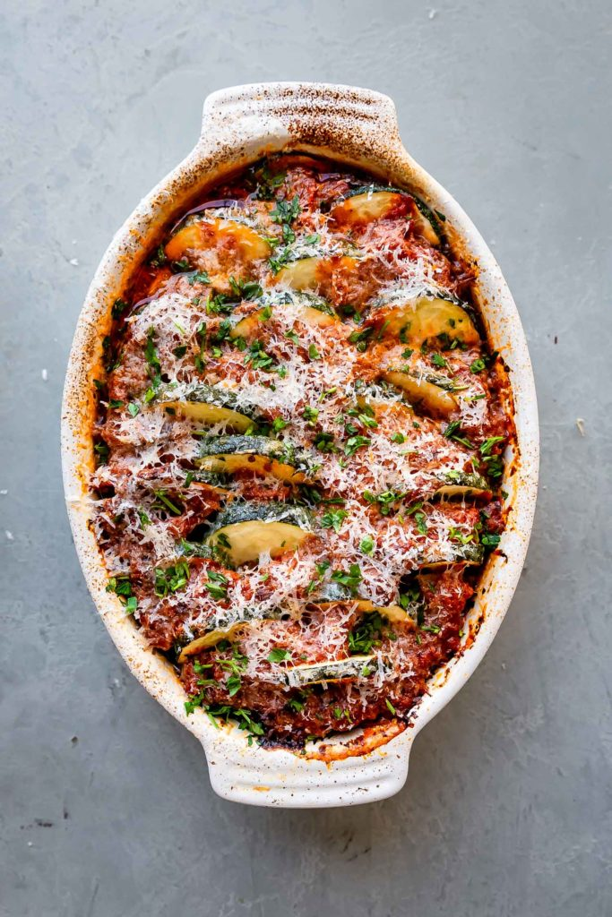 Easy Baked Sausage and Zucchini Casserole from The Movement Menu on foodiecrush.com