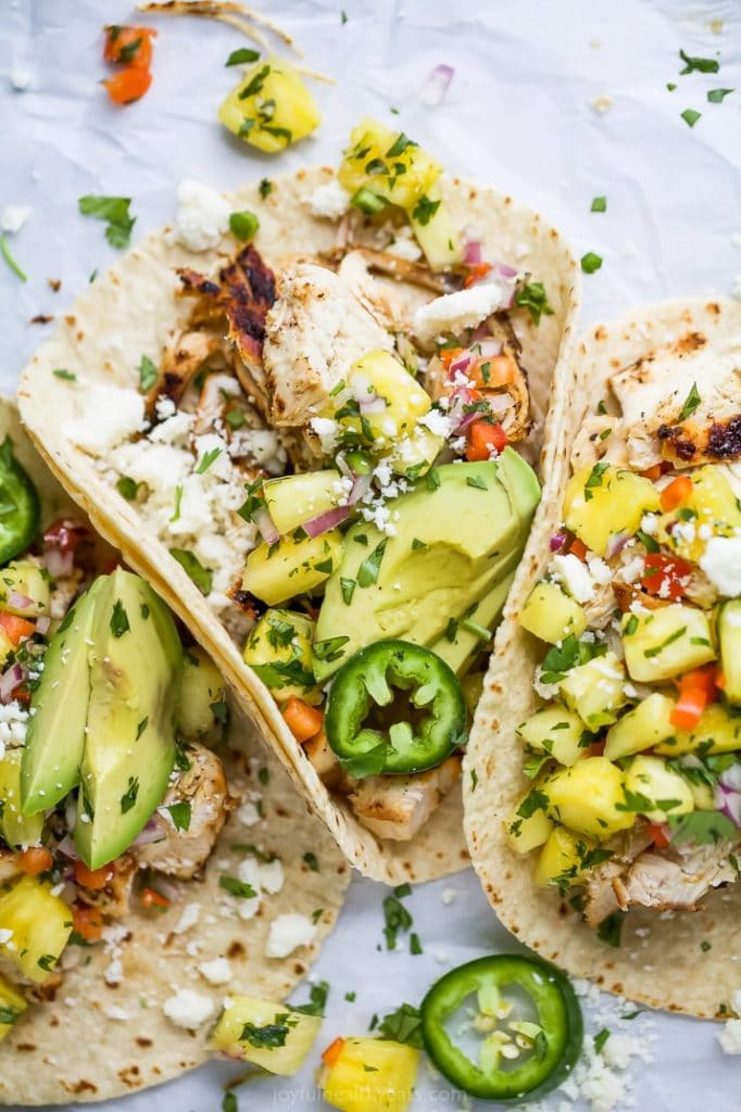 Chipotle Chicken Tacos with Pineapple Salsa from Joyful Healthy Eats on foodiecrush.com