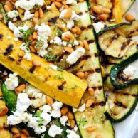 Grilled Zucchini with Goat Cheese and Pine Nuts | foodiecrush.com #zucchini #pinenuts #sidedish #healthy #grilled