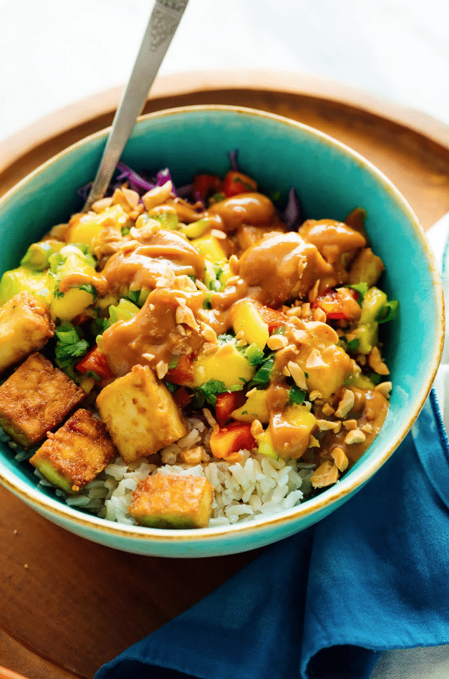 "Mango ""Burrito"" Bowls with Crispy Tofu and Peanut Sauce from Cookie and Kate on foodiecrush.com"