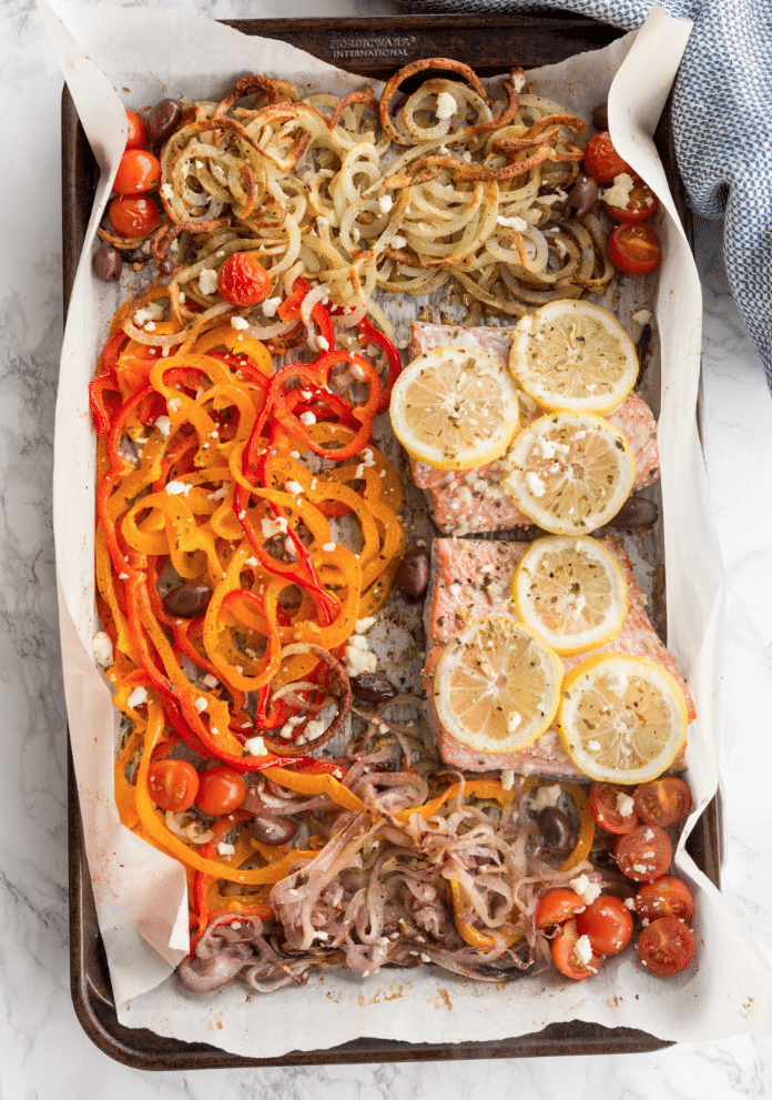 Mediterranean Salmon Sheetpan Dinner from Inspiralized on foodiecrush.com