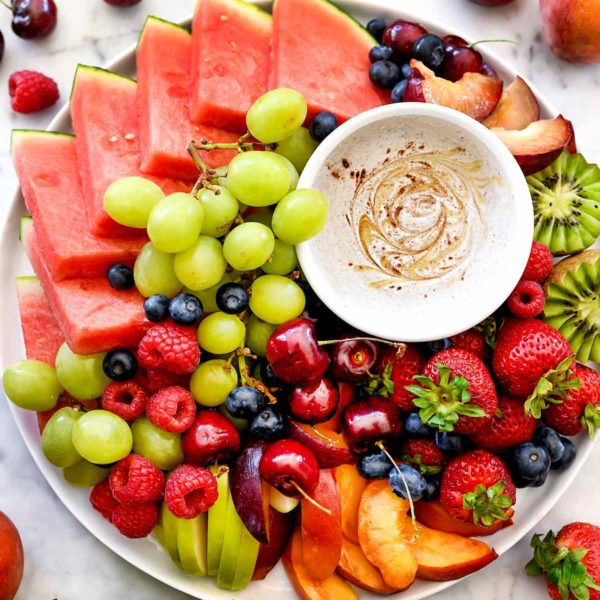Yogurt Fruit Dip and Fruit Platter | foodiecrush.com #yogurt #fruitdip #snack