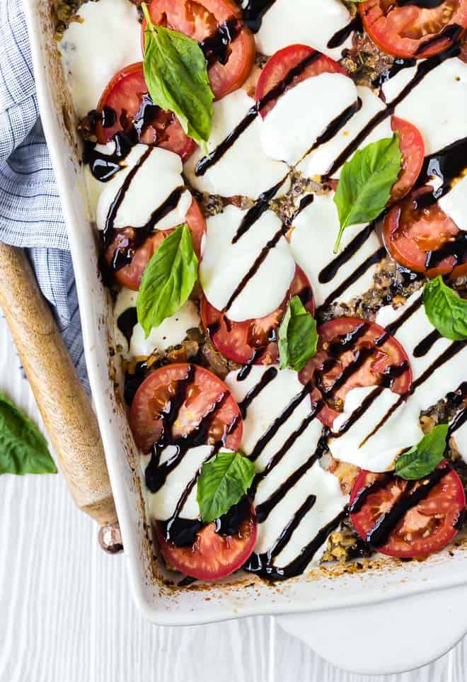 Chicken Caprese Quinoa Bake from Rachel Cooks on foodiecrush.com