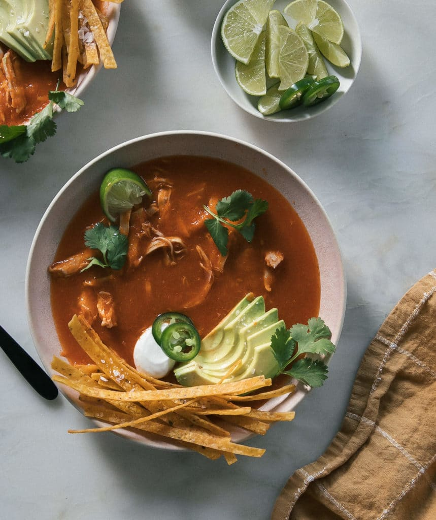 Instant Pot Chicken Tortilla Soup from Cozy Kitchen on foodiecrush.com