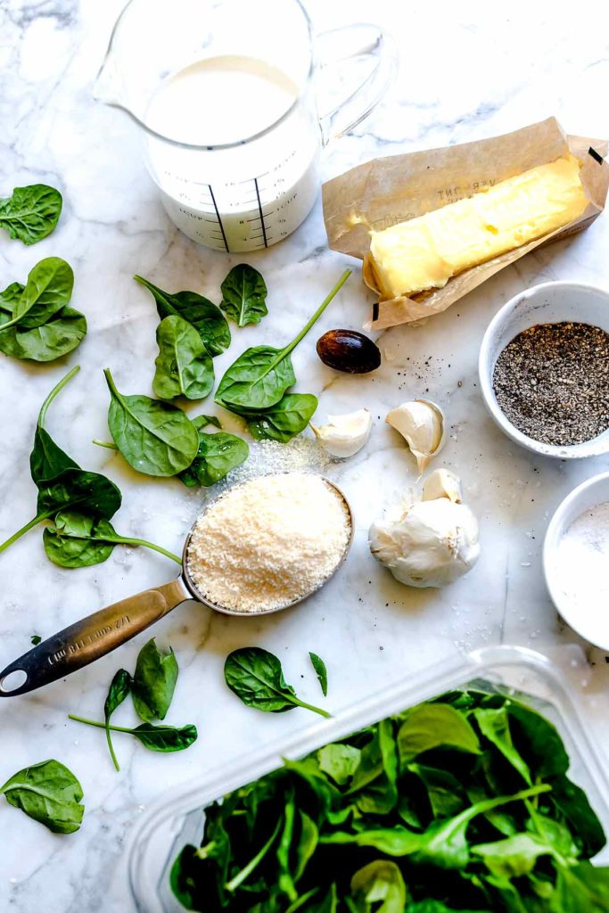 Ingredients for 5 Ingredient Creamed Spinach | foodiecrush.com #spinach #creamed #easy #recipes #parmesan