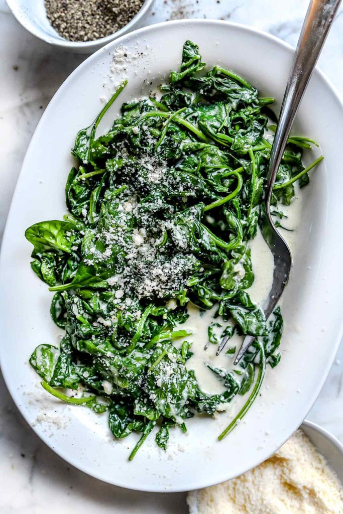 5 Ingredient Creamed Spinach | foodiecrush.com #spinach #creamed #easy #recipes #parmesan