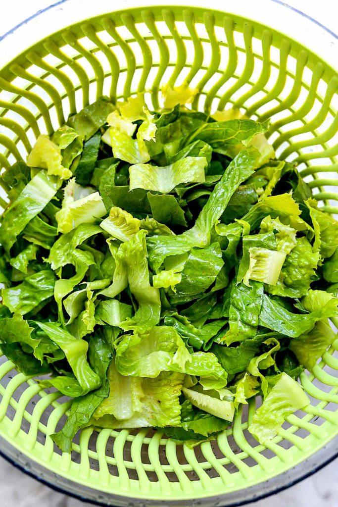 Romaine lettuce in spinner | foodiecrush.com
