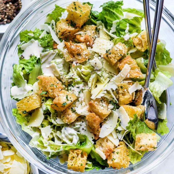 Easy Caesar Salad foodiecrush.com #caesar #salad #recipe #healthy #croutons #easy #dressing