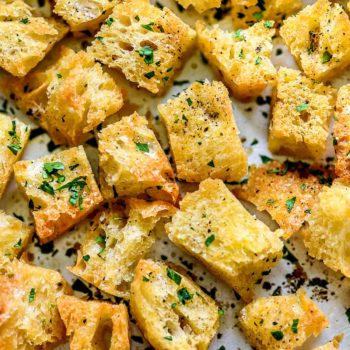 How to Make Homemade Croutons | foodiecrush.com #garlic #homemade #croutons #easy #recipe #frombread
