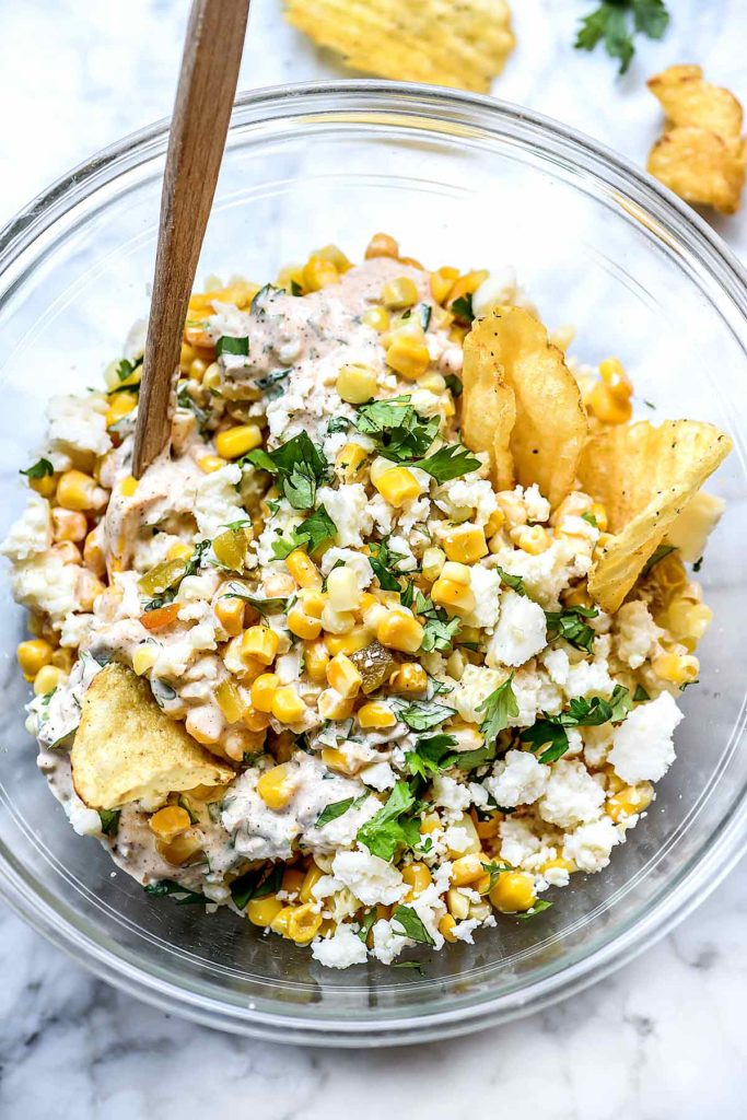 Mexican Corn Dip | foodiecrush.com #recipe #corn #dip #mexican #cold #hot #easy