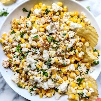 Mexican Corn Dip | foodiecrush.com #recipe #corn #dip #mexican #cold #hot #easy