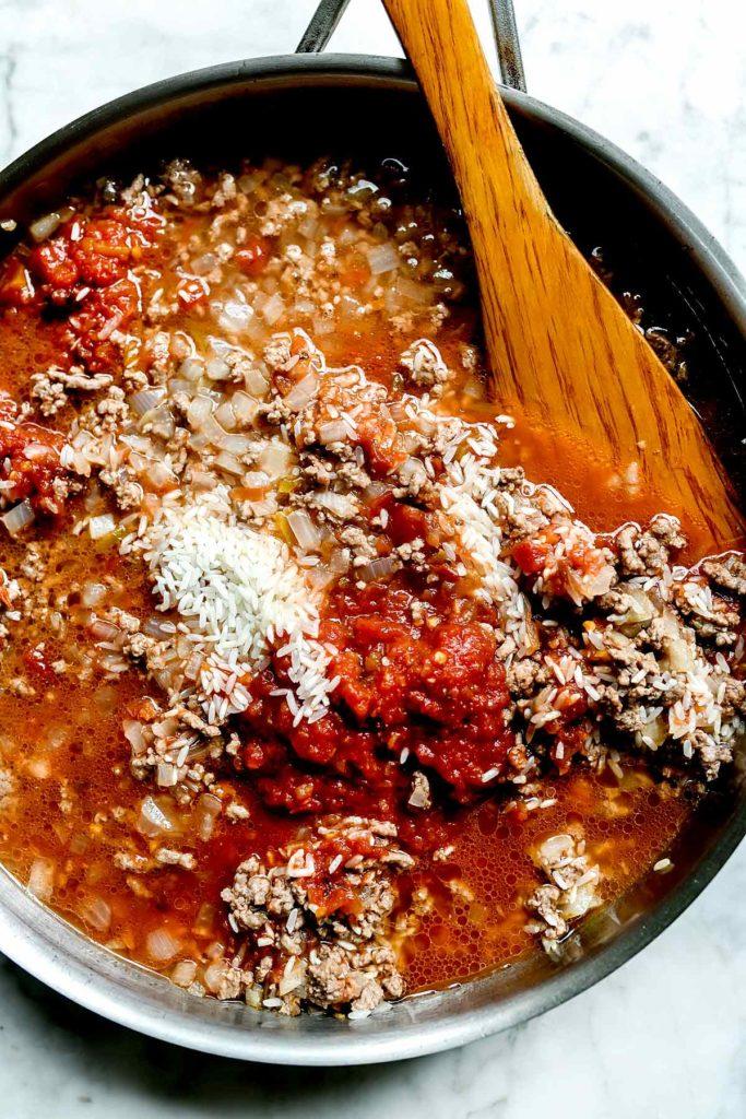 Farce au bœuf haché aux poivrons farcis à la mexicaine |  foodiecrush.com