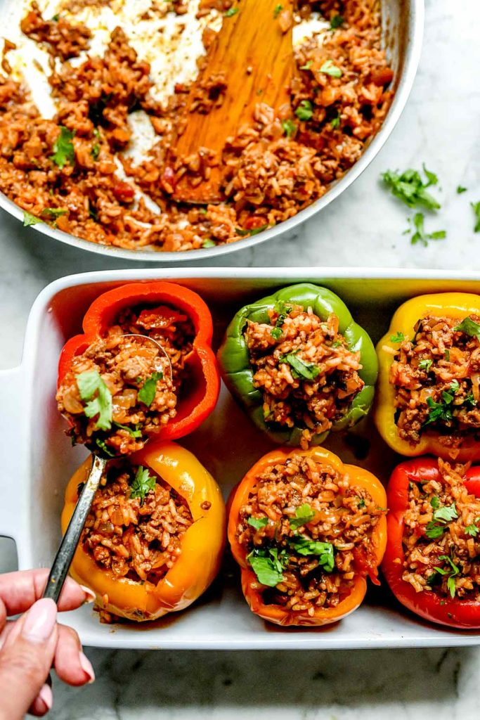 Mexican Stuffed Peppers ground beef stuffing | foodiecrush.com