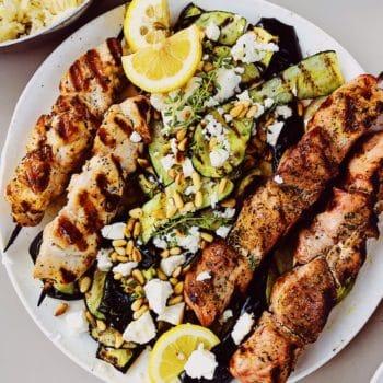 Souvlaki Lemon Rice Zucchini foodiecrush.com