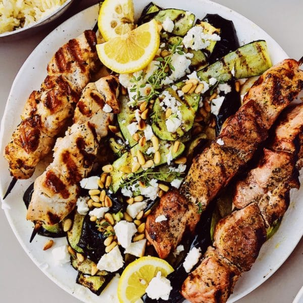 Souvlaki Lemon Rice Zucchini foodiecrush.com