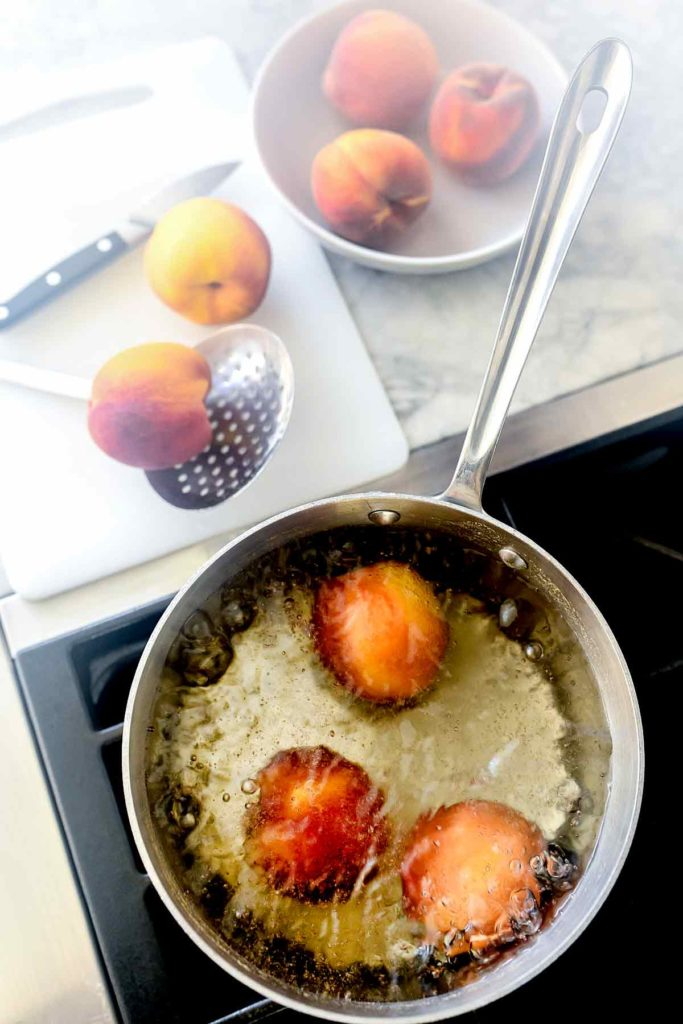 boiling skin off peaches | foodiecrush.com
