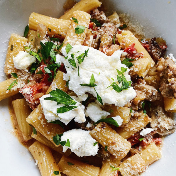 Rigatoni with Sausage Pasta foodiecrush.com