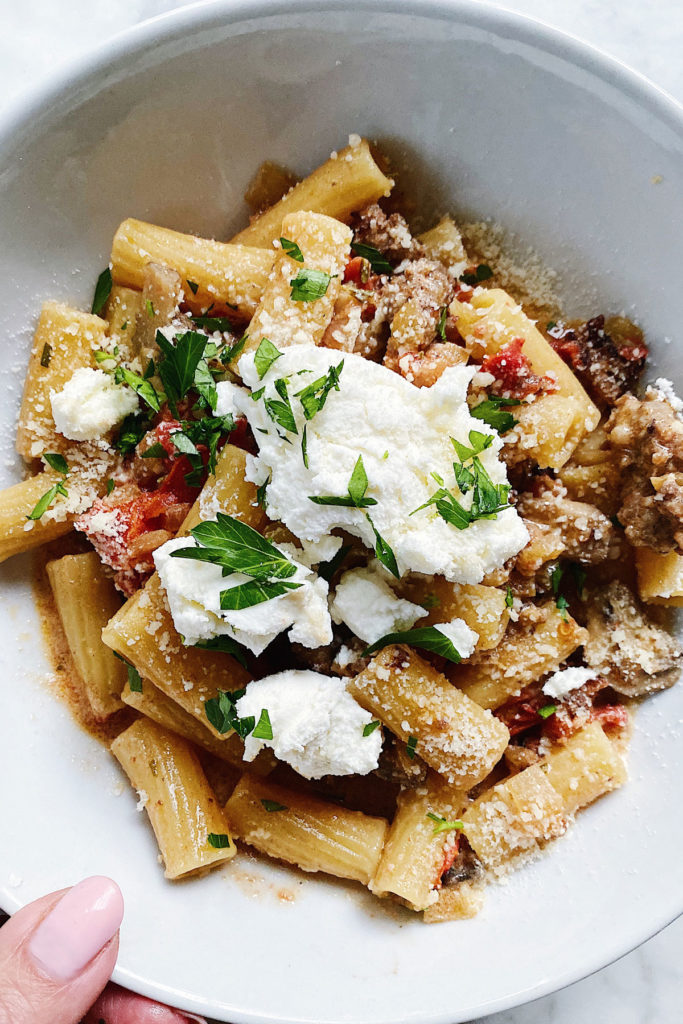 Rigatoni with Sausage Pasta foodiecrush.com