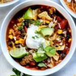 Easy Taco Soup (Stove Top or Crock Pot) | foodiecrush.com #soup #dinner #taco