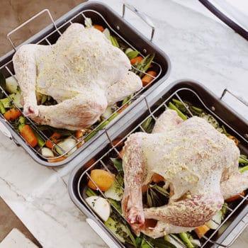 Turkeys on roasting pans photo shoot FoodieCrush.com