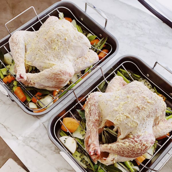 Turkeys on roasting pans photo shoot FoodieCrush.com