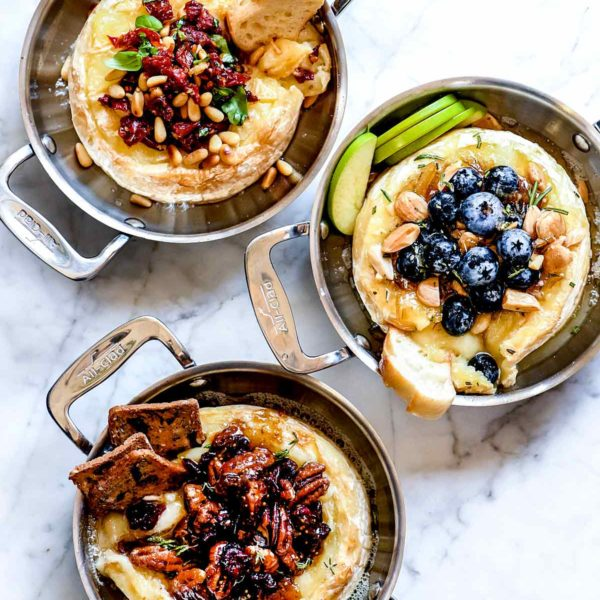 The Best Baked Brie 3 Easy Ways | foodiecrush.com #brie #baked #appetizer #cranberry #jam #recipes #holiday