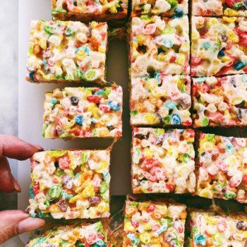 Fruity Pebbles Rice Krispie Treats | foodiecrush.com