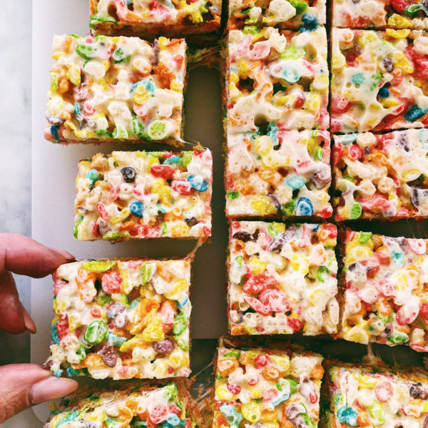 Fruity Pebbles Rice Krispie Treats | foodiecrush.com