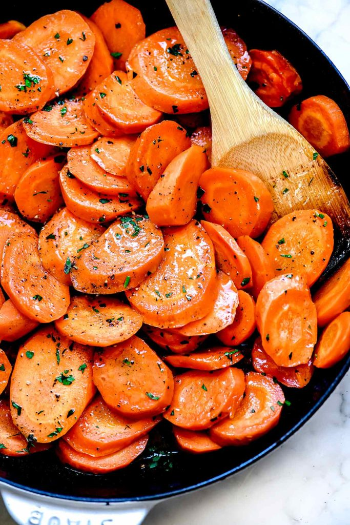 Glazed Carrots foodiecrush.com #carrots #sidedish #easy #brownsugar #recipe #stovetop