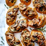 Caramelized Onion and Mushroom Crostini | foodiecrush.com