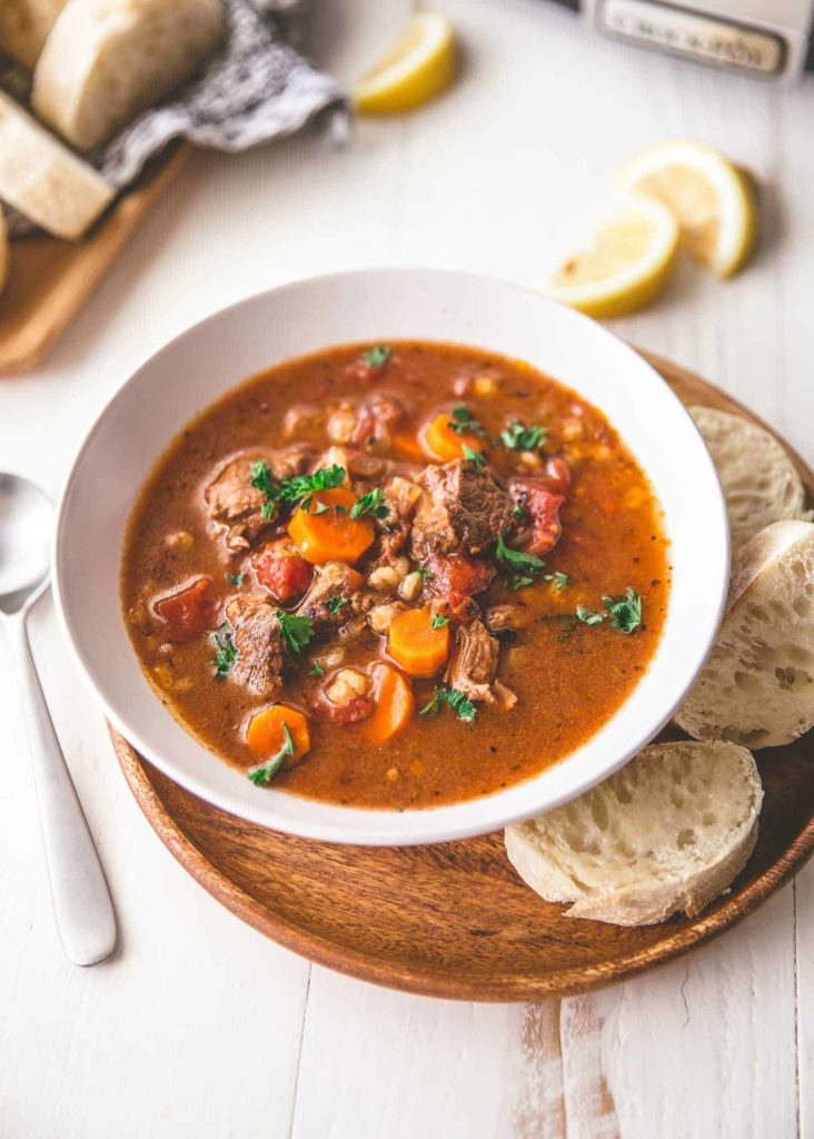 Slow Cooker Beef and Barley Soup from Inquiring Chef on foodiecrush.com