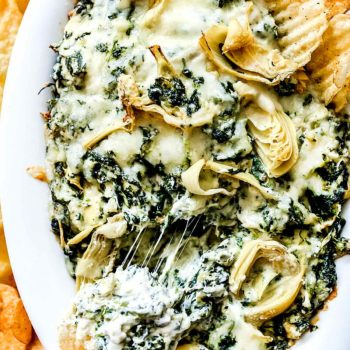 Easy Baked Spinach Artichoke Dip | foodiecrush.com