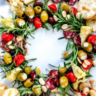 Antipasto Christmas Wreath Appetizer | foodiecrush.com