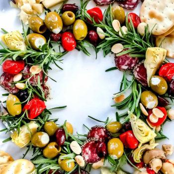 Antipasto Christmas Wreath Appetizer | foodiecrush.com