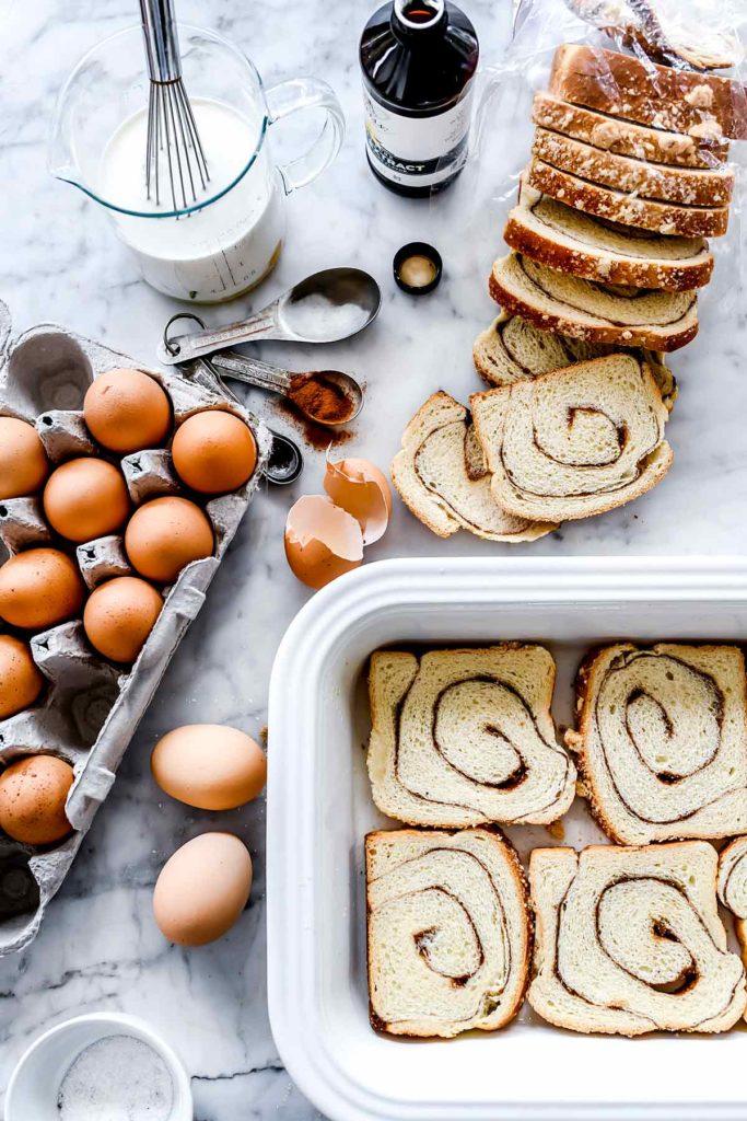 Overnight French Toast Casserole Bake | foodiecrush. #frenchtoast #breakfast #overnight #easy #cinnamonroll #casserole