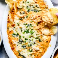 Easy Buffalo Chicken Dip | foodiecrush.com #easy #oven #chicken #buffalo #dip #recipe #cheese